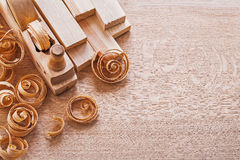 Joinery composition old fashioned woodworkers Royalty Free Stock Images