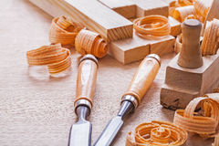 Joinery tools chisels and plane Royalty Free Stock Images