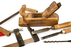 Joinery Tools Isolated on the white Royalty Free Stock Photography