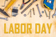 Joinery tools on plywood. Labor day. Top view. Flat laying Stock Photo