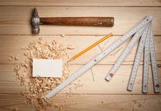 Joinery tools on wood table background with Royalty Free Stock Photo