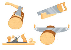 Joinery, woodcutter, lumberjack instruments. Chopping ax, hack and two handed saw, rasp jack-plane. Repair tool. Joinery, woodcutter, lumberjack, builder or Royalty Free Stock Photo