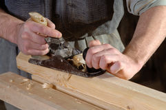 Joinery workshop with wood Stock Photo