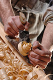 Joinery workshop with wood Stock Image