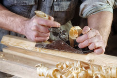 Joinery workshop with wood Royalty Free Stock Images