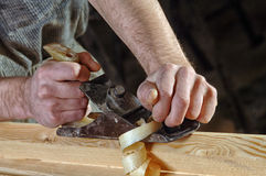 Joinery workshop with wood Royalty Free Stock Photo