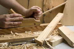 Joinery workshop with wood tools Stock Photos