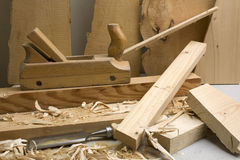 Joinery workshop with wood tools. Closeup Stock Photography