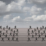 Joining Forces Business Concept. Or company group confrontation as businesswomen and businessmen running towards each other as a metaphor for unity or corporate Royalty Free Stock Image