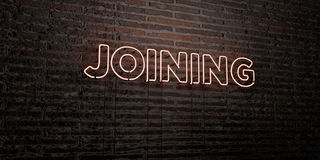 JOINING -Realistic Neon Sign on Brick Wall background - 3D rendered royalty free stock image. Can be used for online banner ads and direct mailers Stock Image