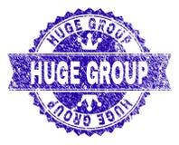 Joint ÉNORME texturisé de timbre de GROUPE de grunge avec le ruban illustration stock