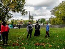 The joint action of the Belarusian Union of youth and the priests of the Orthodox Church in Gomel region. In Belarus often held joint activities of public stock photography