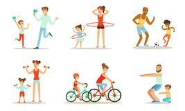 Joint Activity Of Parents And Children, Sports And Exercises Vector Illustration Set Isolated On White Background