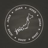 Joint blanc de vintage de texture de craie avec la carte du Japon illustration de vecteur