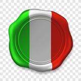 Joint brillant de cire dans des couleurs italiennes Label r?aliste de timbre de cire de cachetage vieux sur le fond transparent V illustration stock