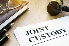 Joint custody  in a court. Joint custody and gavel in a court Royalty Free Stock Images