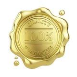 joint 100% d'or de cire de garantie de qualité d'isolement sur le fond blanc illustration de vecteur