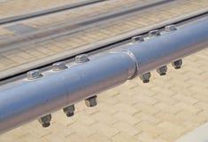 Joint de connexion de tuyau d'acier et de tube inoxydables dans fectory Image libre de droits