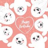 Joint de fourrure blanc drôle de design de carte de joyeux anniversaire Images libres de droits