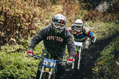 Joint downhill athletes Royalty Free Stock Photo