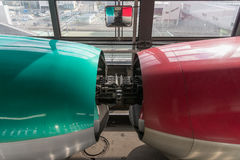 Joint of E5/E6 High-speed trains during separation process. Royalty Free Stock Photo