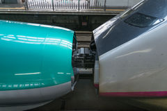 Joint of E5(Green)/E3(White) High-speed trains. Stock Image