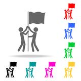 Joint flag raising icon. Elements of teamwork multi colored icons. Premium quality graphic design icon. Simple icon for. Websites, web design, mobile app, info Stock Photo