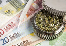 Joint & grinder on euro Stock Photo