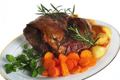 Joint of lamb on plate Royalty Free Stock Image