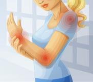 Joint pain. Cartoon illustration. Joint pain. Cartoon vector illustration Royalty Free Stock Images