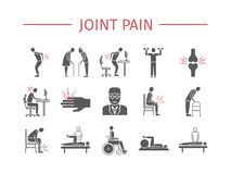 Joint pain. Icons set. Vector signs for web graphics. Joint pain. Flat icons set. Vector signs for web graphics Stock Images