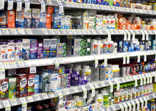 Joint pain medication. Medicine on the store shelf for joint pain royalty free stock photo