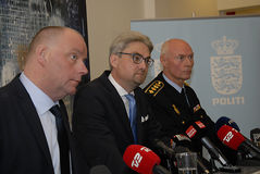 JOINT PRESS CONFERENCE REGARDING DNISH SECURITY. Copenhagen/Denmark/ 22th September  2015_    Danish Minister for justice Soren Pind in center on his left Jens Stock Images