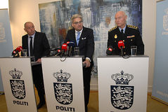 JOINT PRESS CONFERENCE REGARDING DNISH SECURITY. Copenhagen/Denmark/ 22th September  2015_    Danish Minister for justice Soren Pind in center on his left Jens Stock Photos