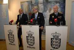JOINT PRESS CONFERENCE REGARDING DNISH SECURITY. Copenhagen/Denmark/ 22th September  2015_    Danish Minister for justice Soren Pind in center on his left Jens Stock Photo