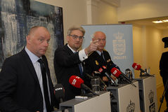 JOINT PRESS CONFERENCE REGARDING DNISH SECURITY. Copenhagen/Denmark/ 22th September  2015_    Danish Minister for justice Soren Pind in center on his left Jens Royalty Free Stock Images