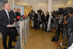 JOINT PRESS CONFERENCE REGARDING DNISH SECURITY. Copenhagen/Denmark/ 22th September  2015_    Danish Minister for justice Soren Pind in center on his left Jens Royalty Free Stock Image