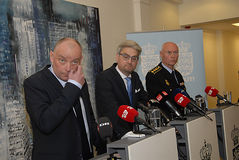 JOINT PRESS CONFERENCE REGARDING DNISH SECURITY. Copenhagen/Denmark/ 22th September  2015_    Danish Minister for justice Soren Pind in center on his left Jens Royalty Free Stock Photography