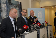 JOINT PRESS CONFERENCE REGARDING DNISH SECURITY. Copenhagen/Denmark/ 22th September  2015_    Danish Minister for justice Soren Pind in center on his left Jens Stock Image