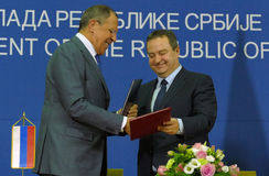 Joint press conference of Russian and Serbian Foreign Ministers, Ivica Dacic and Sergey Lavrov stock photo