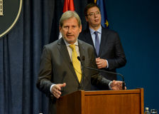 Joint press conference of Serbian PM Vucic and European Commissioner Hahn Stock Image