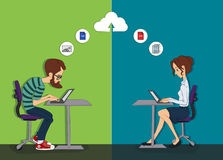 Joint remote work on the project - cloud computing for work - Royalty Free Stock Images