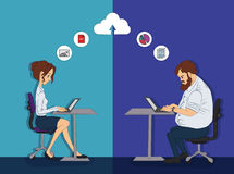 Joint remote work on the project - cloud computing for work - Stock Photography