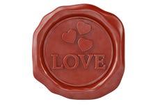 Joint rouge de cire de forme d'amour et de coeur illustration 3D illustration stock