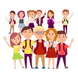 Joint Snapshot of Classmates 11 Pupils on White Royalty Free Stock Images