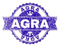 Joint texturisé rayé de timbre d'ÂGRÂ avec le ruban illustration stock