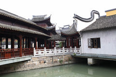 The joint of two corridors. Built on the water two corridors crossed Royalty Free Stock Photo