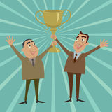 The joint venture holds trophy winner. Royalty Free Stock Photo