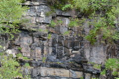 Jointed Moine Schist Rockface supporting vegetation Stock Images