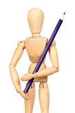 Jointed wooden mannequin with a blue pencil Royalty Free Stock Photos